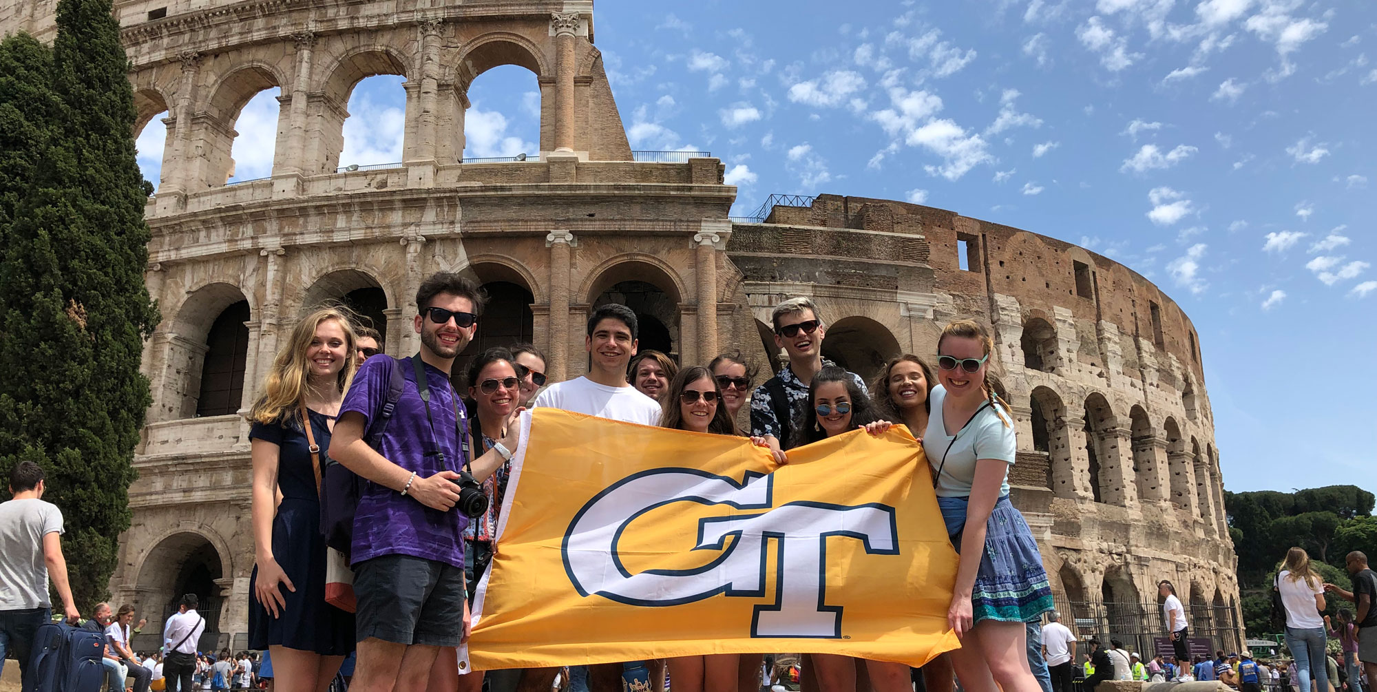 Georgia Tech student group photo with flag